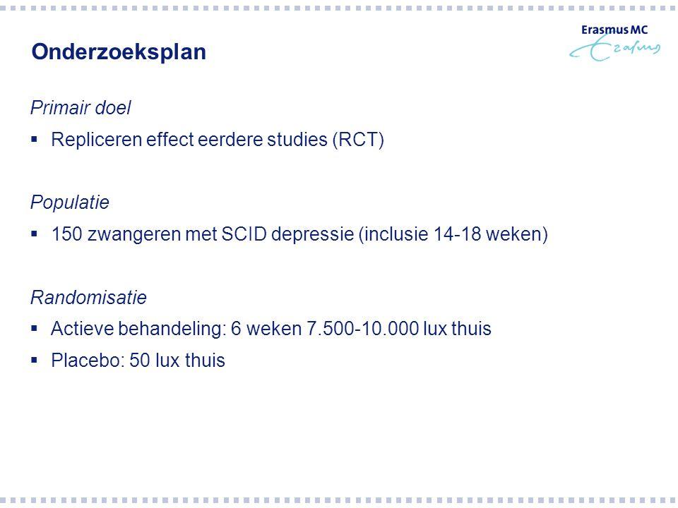 Onderzoeksplan Primair doel Repliceren effect eerdere studies (RCT)