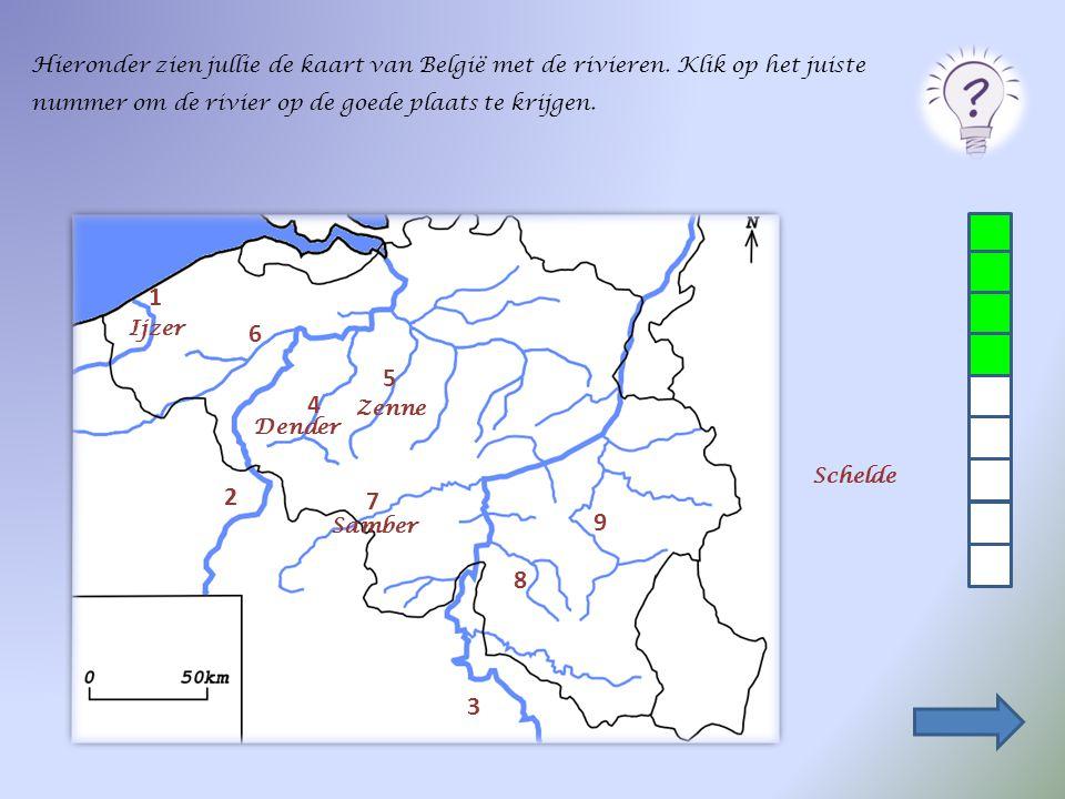 Hieronder zien jullie de kaart van België met de rivieren
