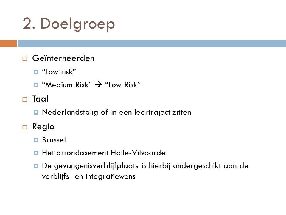 2. Doelgroep Geïnterneerden Taal Regio Low risk