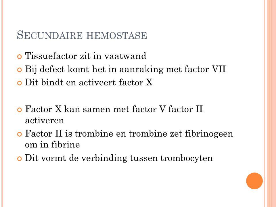 Secundaire hemostase Tissuefactor zit in vaatwand