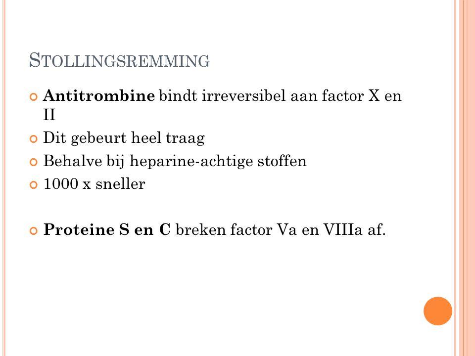 Stollingsremming Antitrombine bindt irreversibel aan factor X en II