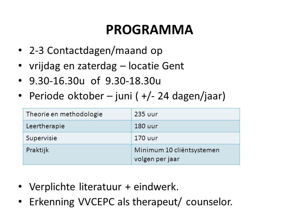 PROGRAMMA 2-3 Contactdagen/maand op vrijdag en zaterdag – locatie Gent
