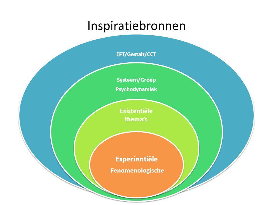 Inspiratiebronnen Experientiële Existentiële thema's EFT/Gestalt/CCT