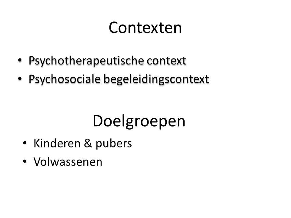 Contexten Doelgroepen Psychotherapeutische context