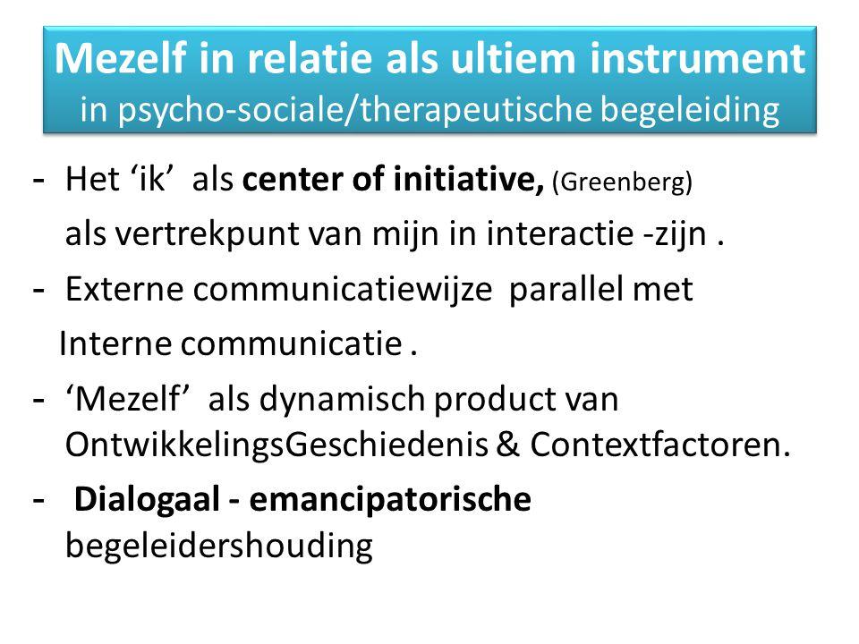 Mezelf in relatie als ultiem instrument in psycho-sociale/therapeutische begeleiding