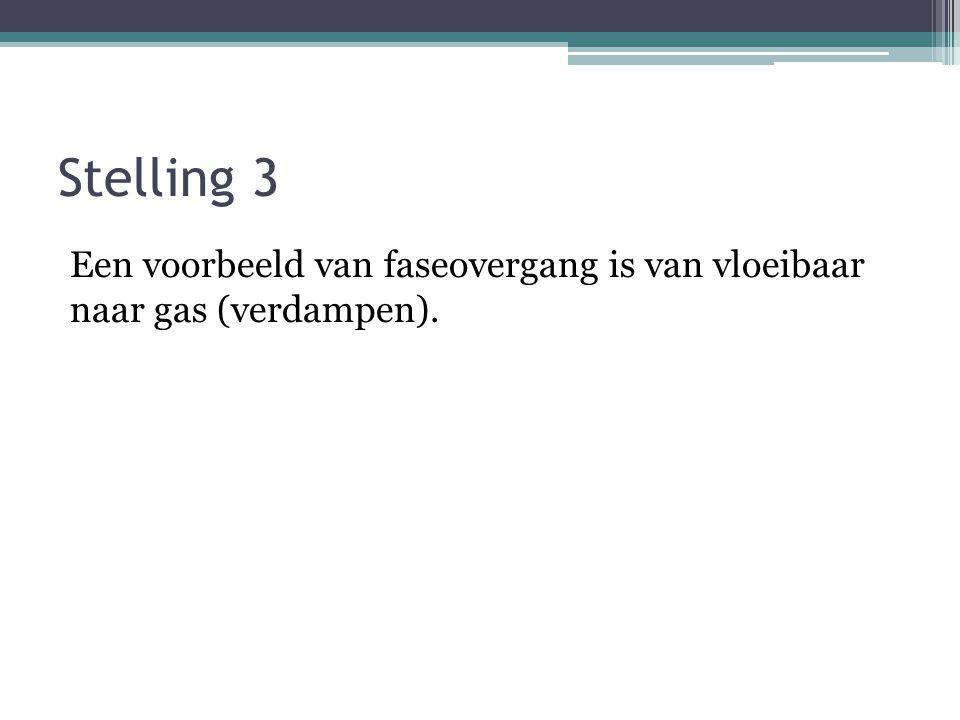 Stelling 3 Een voorbeeld van faseovergang is van vloeibaar naar gas (verdampen).