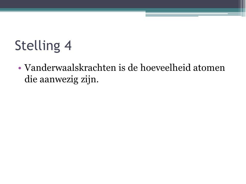Stelling 4 Vanderwaalskrachten is de hoeveelheid atomen die aanwezig zijn.