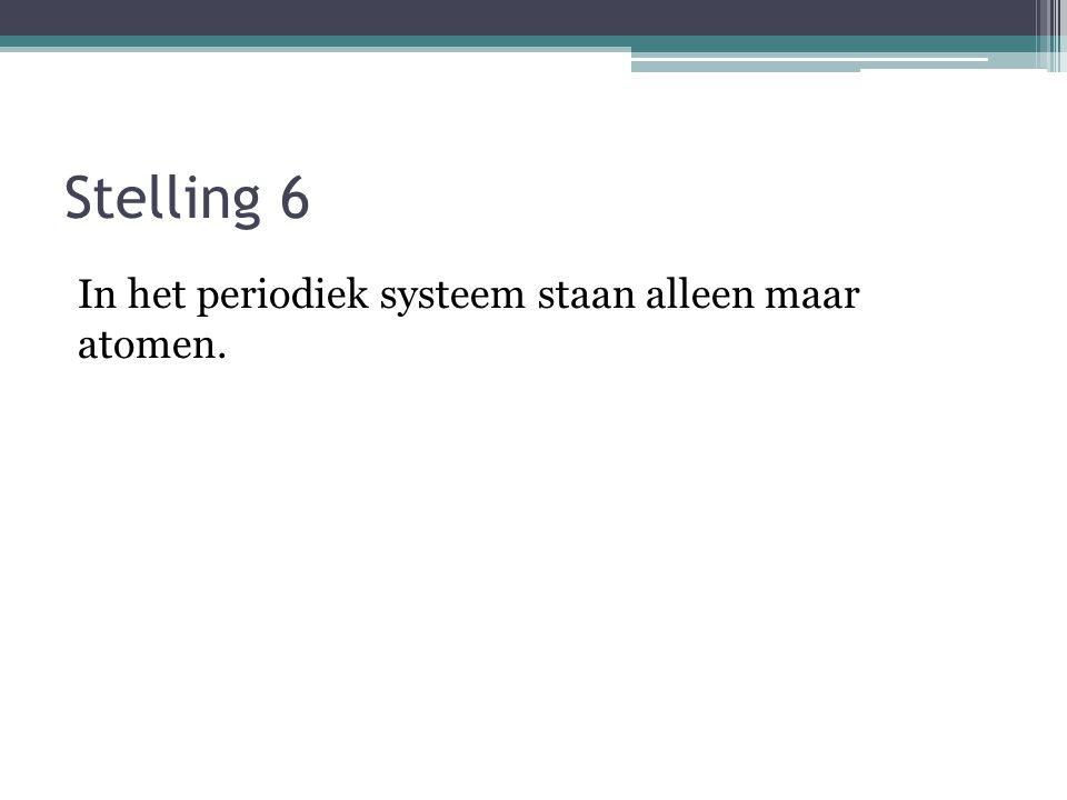 Stelling 6 In het periodiek systeem staan alleen maar atomen.