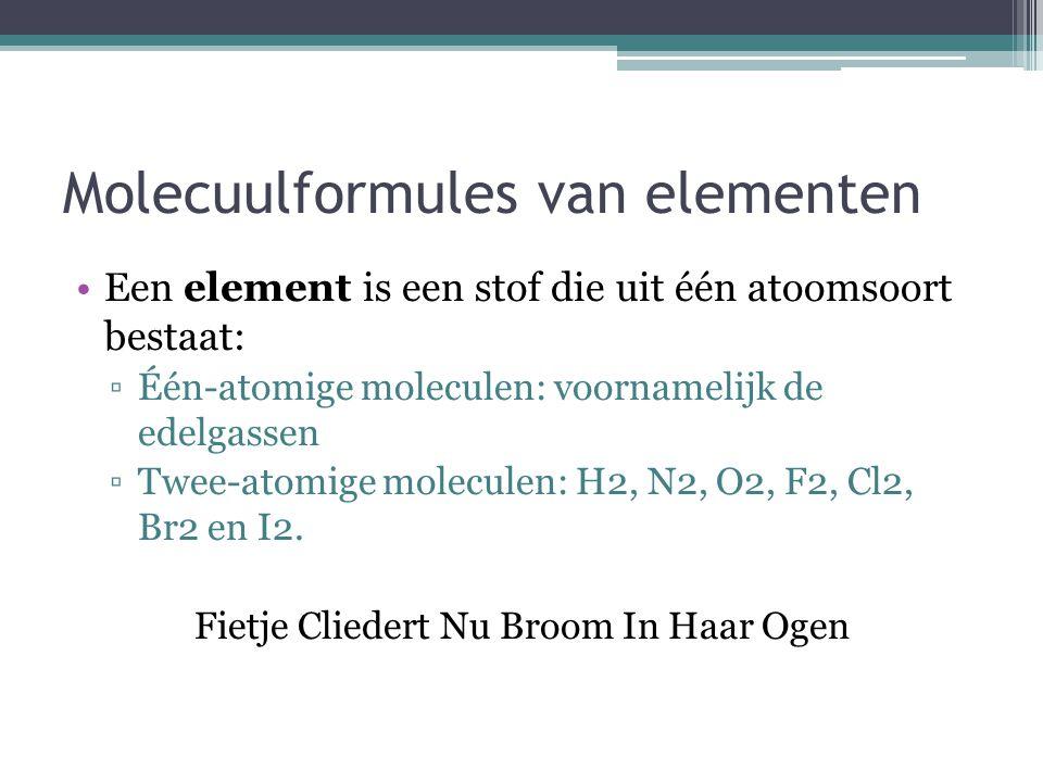 Molecuulformules van elementen
