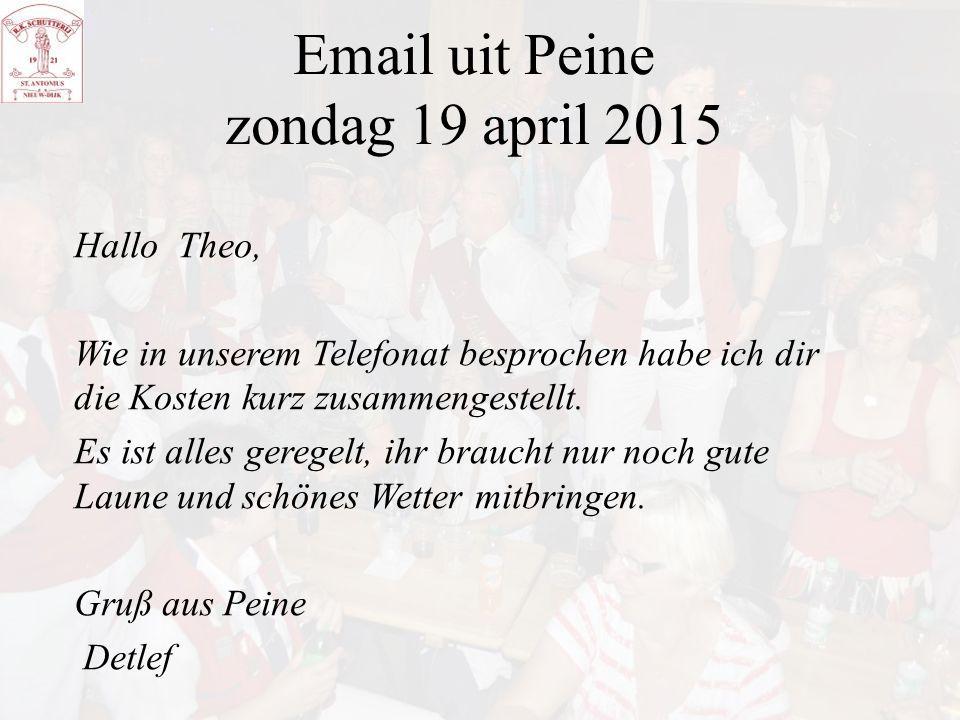 Email uit Peine zondag 19 april 2015