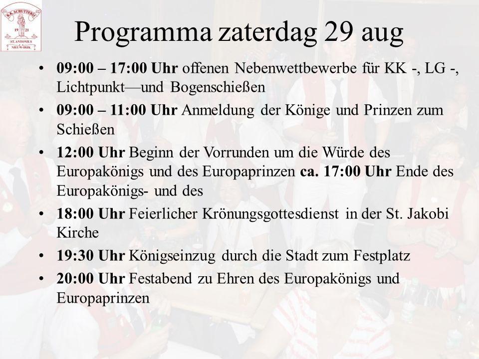 Programma zaterdag 29 aug