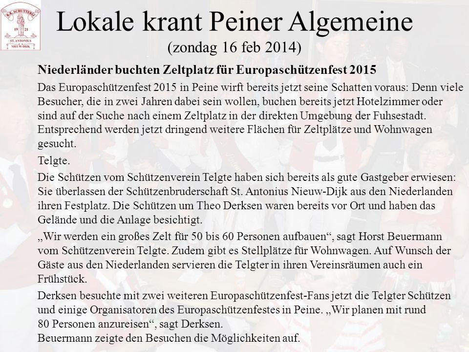 Lokale krant Peiner Algemeine (zondag 16 feb 2014)