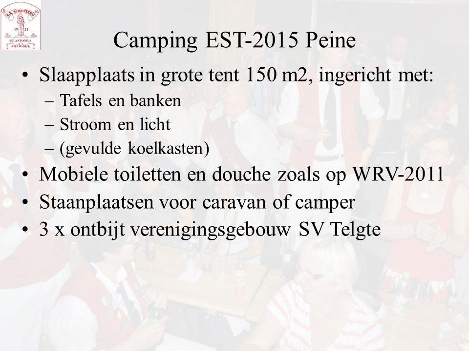 Camping EST-2015 Peine Slaapplaats in grote tent 150 m2, ingericht met: Tafels en banken. Stroom en licht.