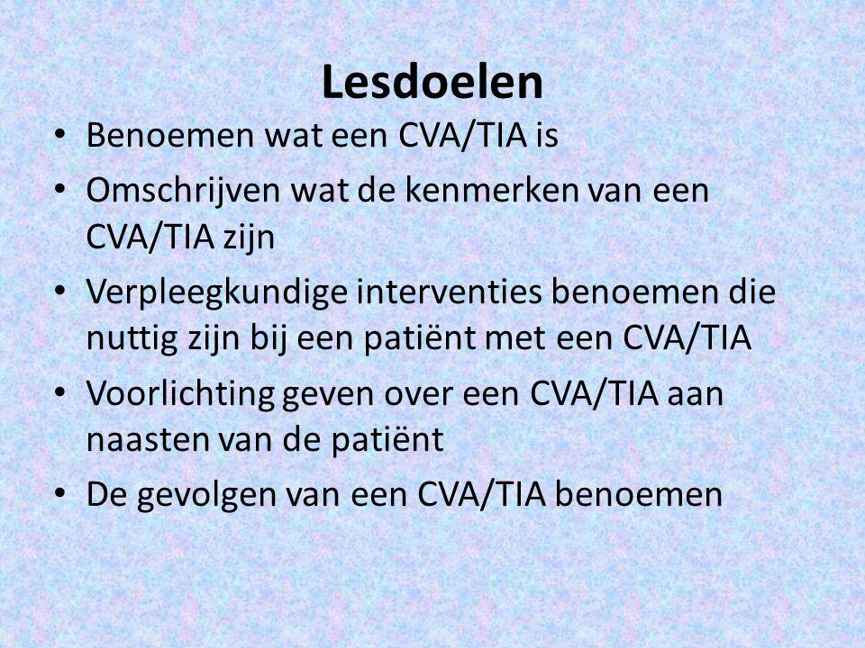 Lesdoelen Benoemen wat een CVA/TIA is