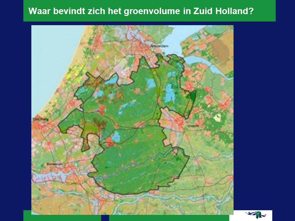 Waar bevindt zich het groenvolume in Zuid Holland