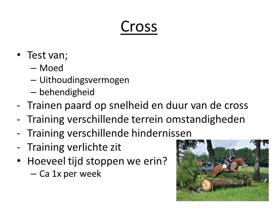 Cross Test van; Trainen paard op snelheid en duur van de cross
