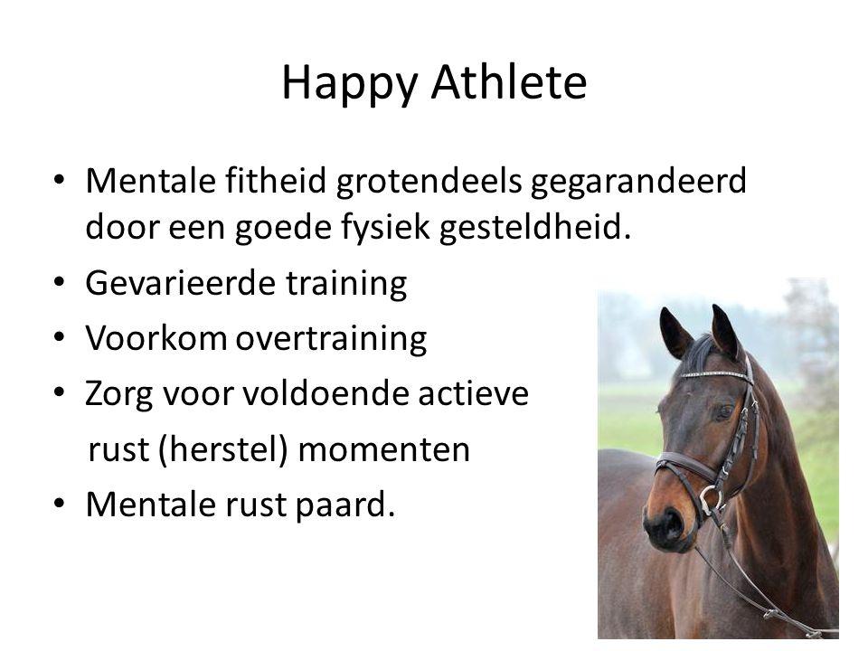 Happy Athlete Mentale fitheid grotendeels gegarandeerd door een goede fysiek gesteldheid. Gevarieerde training.