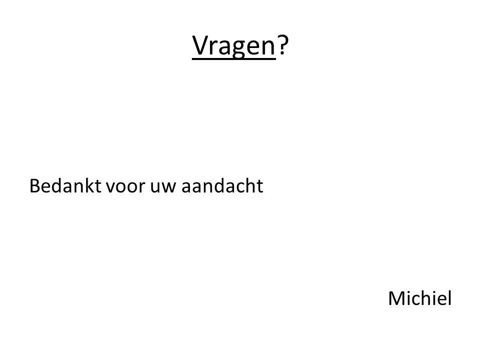 Vragen Bedankt voor uw aandacht Michiel