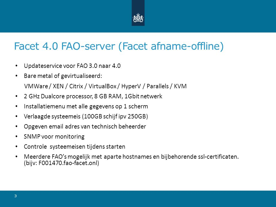 Facet 4.0 FAO-server (Facet afname-offline)
