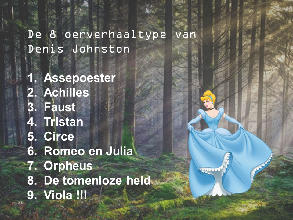 De 8 oerverhaaltype van Denis Johnston. Assepoester. Achilles. Faust. Tristan. Circe. Romeo en Julia.