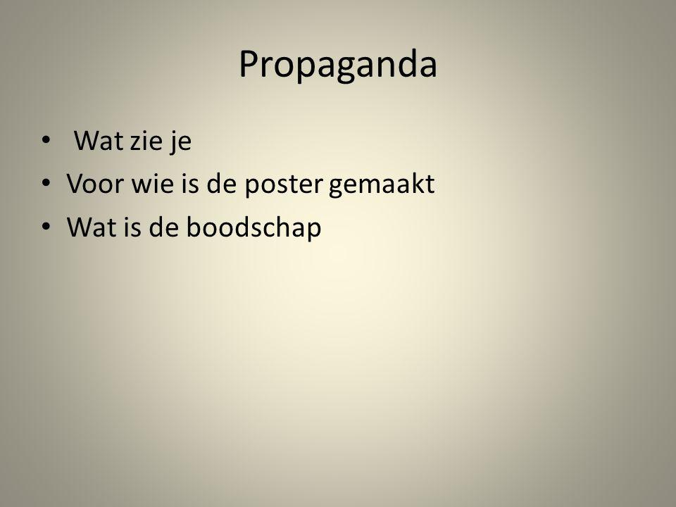 Propaganda Wat zie je Voor wie is de poster gemaakt