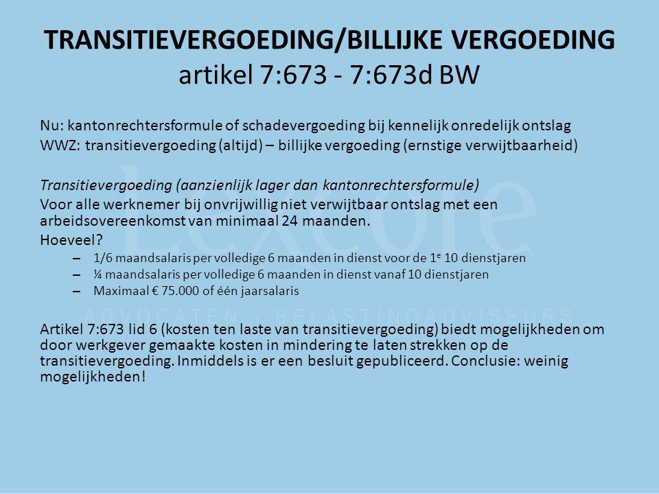 TRANSITIEVERGOEDING/BILLIJKE VERGOEDING artikel 7:673 - 7:673d BW