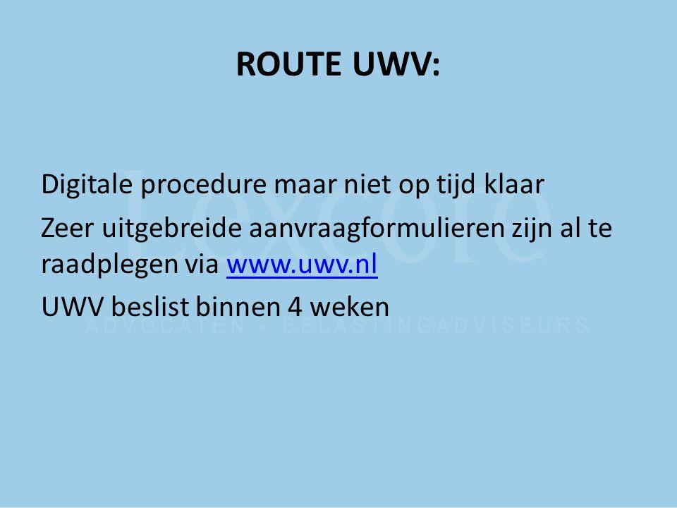 ROUTE UWV: