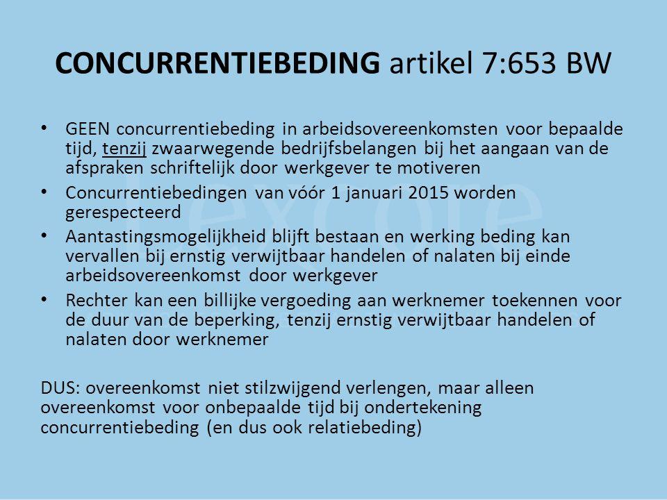 CONCURRENTIEBEDING artikel 7:653 BW