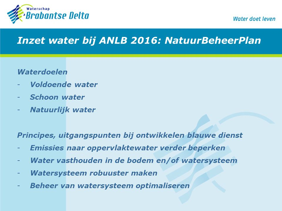 Inzet water bij ANLB 2016: NatuurBeheerPlan