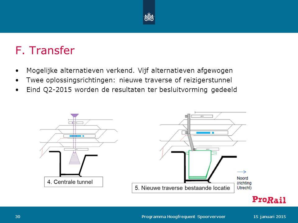F. Transfer Mogelijke alternatieven verkend. Vijf alternatieven afgewogen. Twee oplossingsrichtingen: nieuwe traverse of reizigerstunnel.