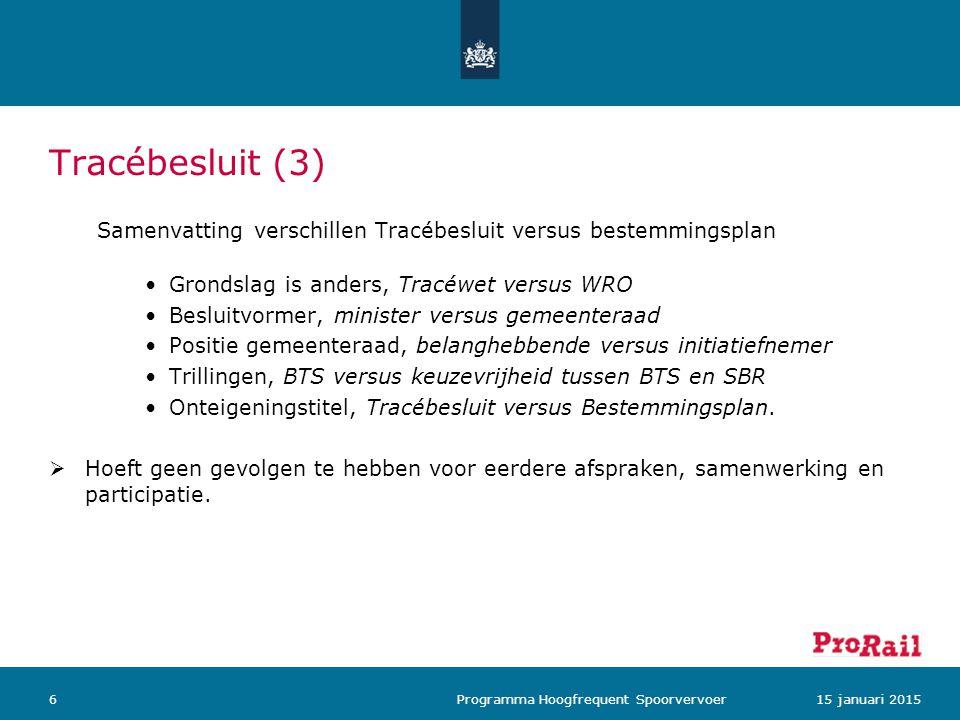 Tracébesluit (3) Samenvatting verschillen Tracébesluit versus bestemmingsplan. Grondslag is anders, Tracéwet versus WRO.
