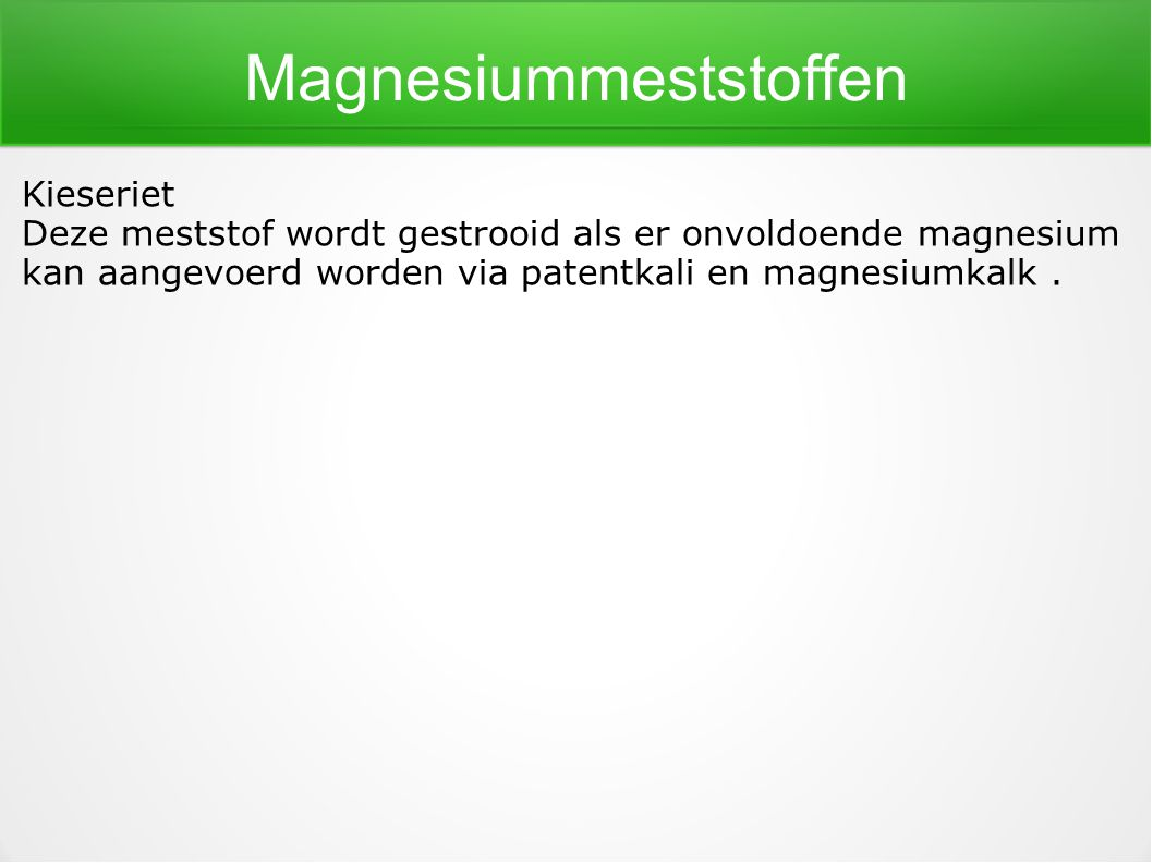 Magnesiummeststoffen