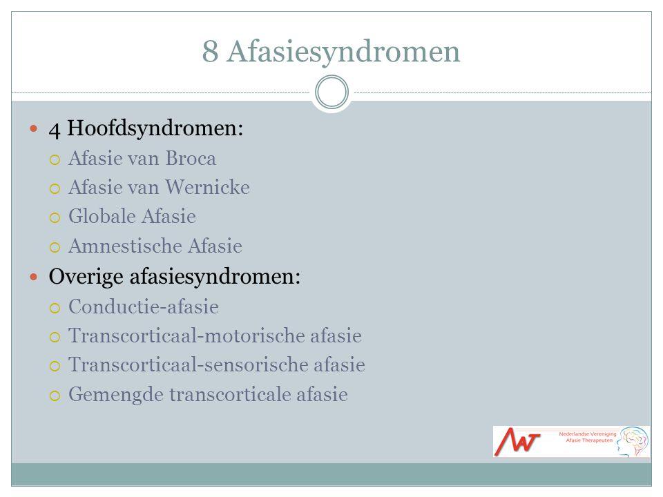 8 Afasiesyndromen 4 Hoofdsyndromen: Overige afasiesyndromen: