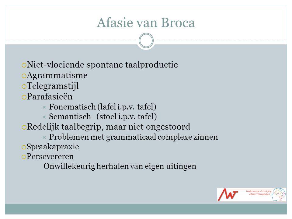 Afasie van Broca Niet-vloeiende spontane taalproductie Agrammatisme