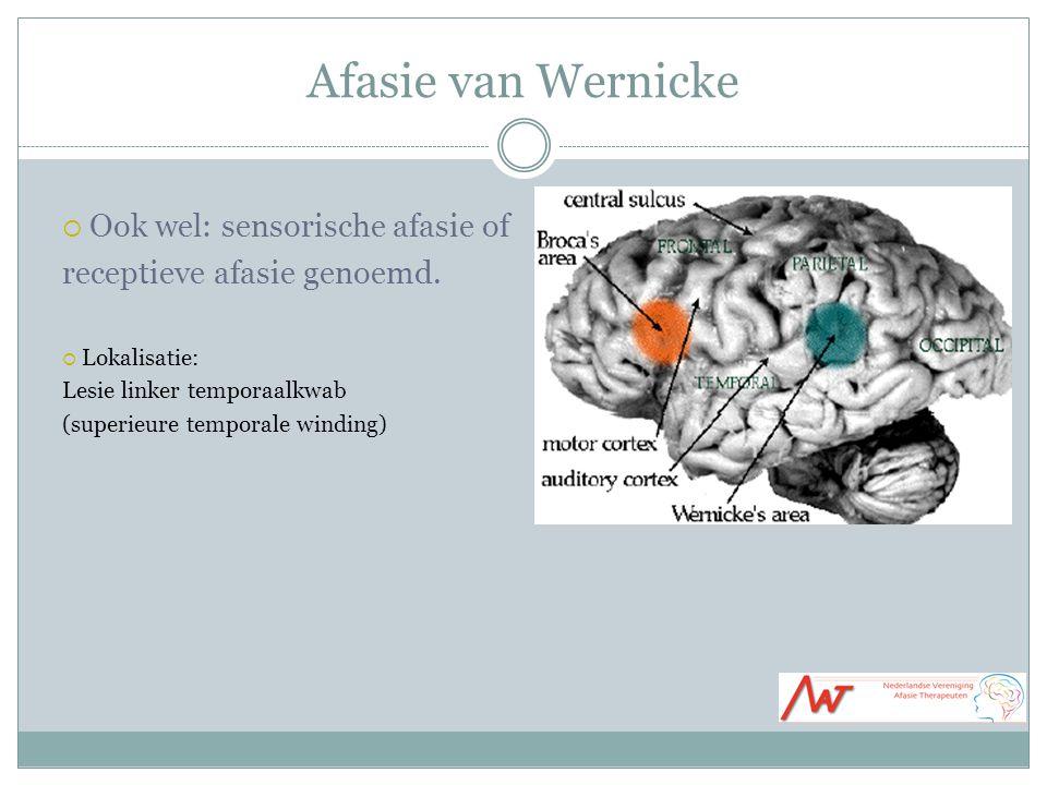 Afasie van Wernicke Ook wel: sensorische afasie of