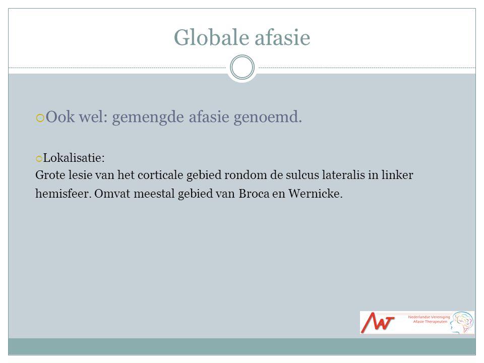 Globale afasie Ook wel: gemengde afasie genoemd. Lokalisatie:
