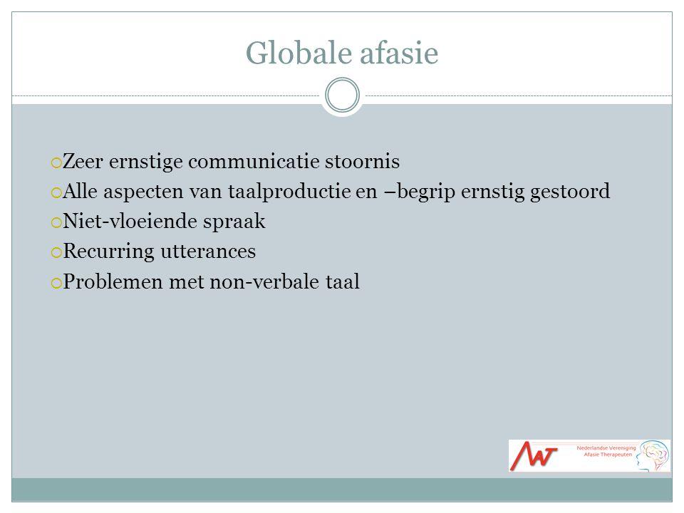 Globale afasie Zeer ernstige communicatie stoornis