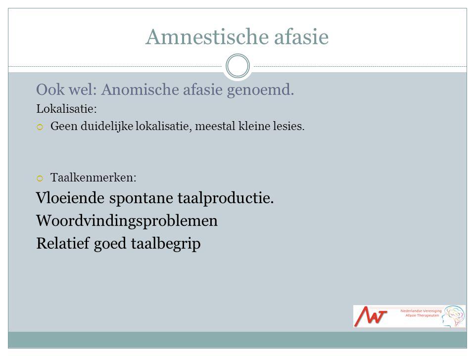 Amnestische afasie Ook wel: Anomische afasie genoemd.
