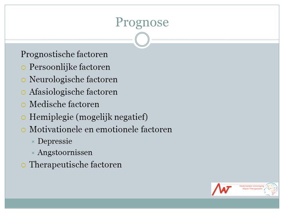 Prognose Prognostische factoren Persoonlijke factoren