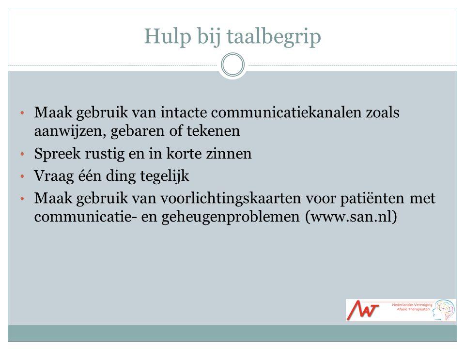 Hulp bij taalbegrip Maak gebruik van intacte communicatiekanalen zoals aanwijzen, gebaren of tekenen.