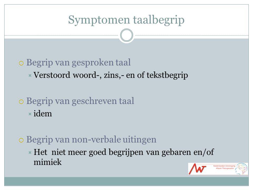 Symptomen taalbegrip Begrip van gesproken taal