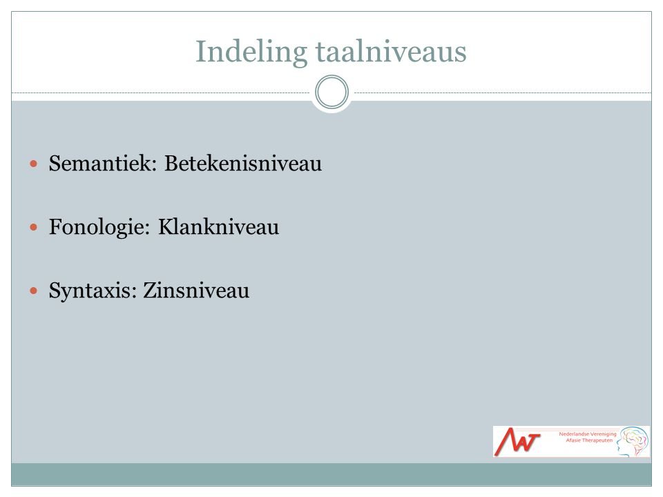 Indeling taalniveaus Semantiek: Betekenisniveau Fonologie: Klankniveau