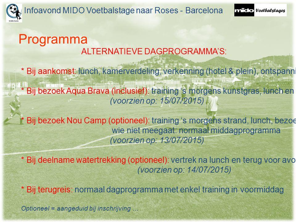 Programma Infoavond MIDO Voetbalstage naar Roses - Barcelona