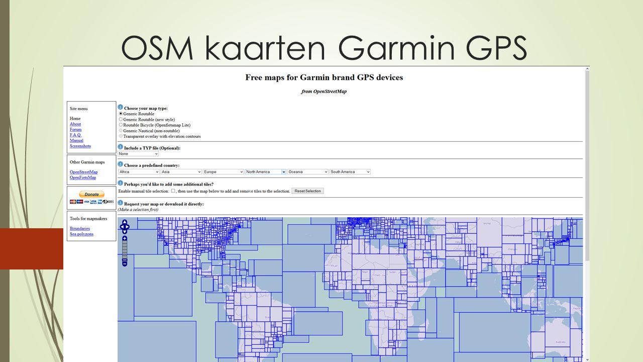 OSM kaarten Garmin GPS