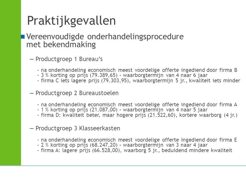 Praktijkgevallen Vereenvoudigde onderhandelingsprocedure met bekendmaking.