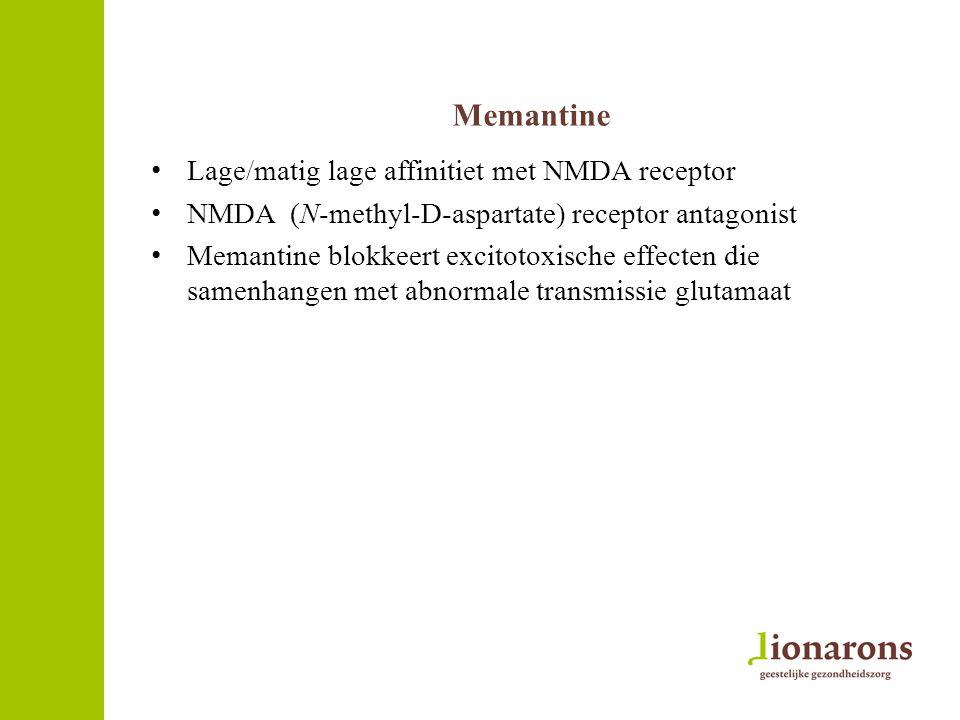 Memantine Lage/matig lage affinitiet met NMDA receptor