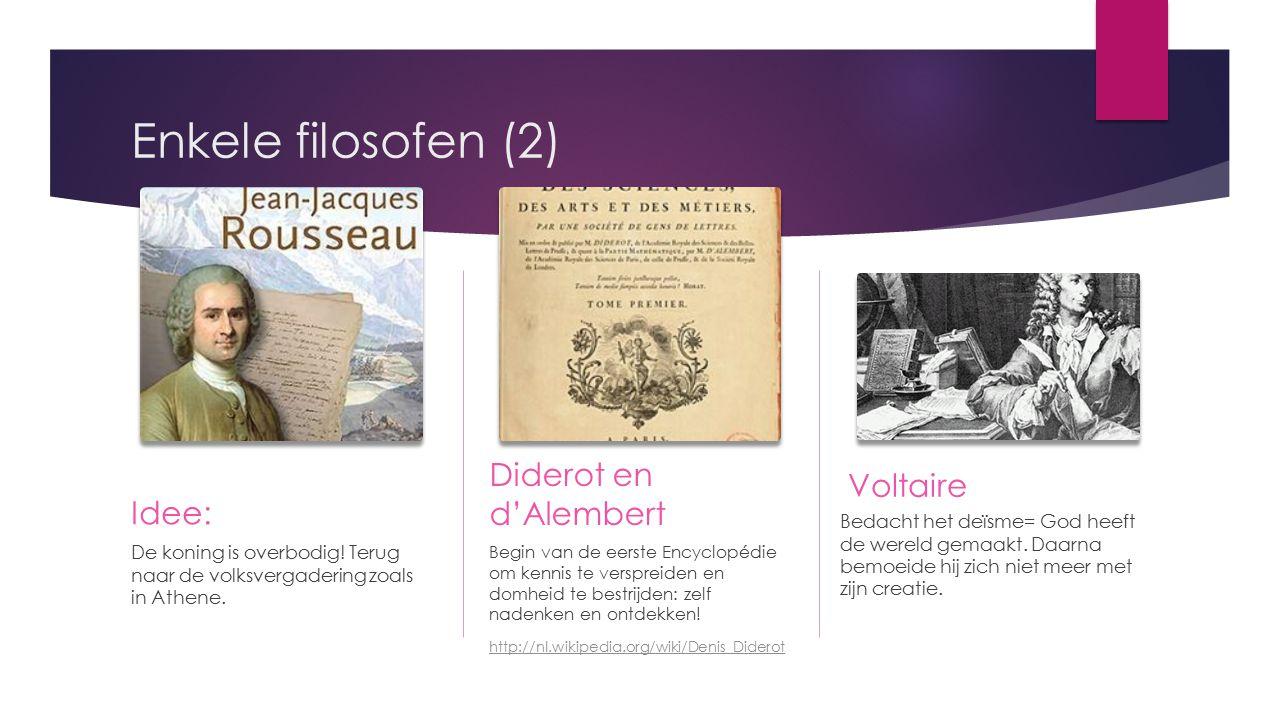 Enkele filosofen (2) Voltaire Diderot en d'Alembert Idee: