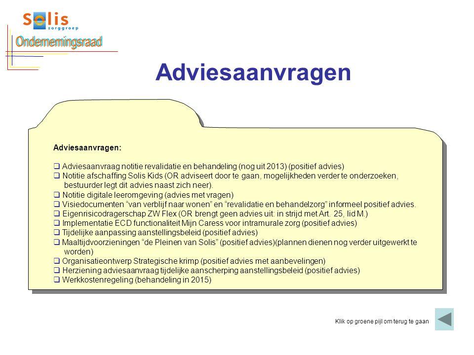 Ondernemingsraad Adviesaanvragen Adviesaanvragen:
