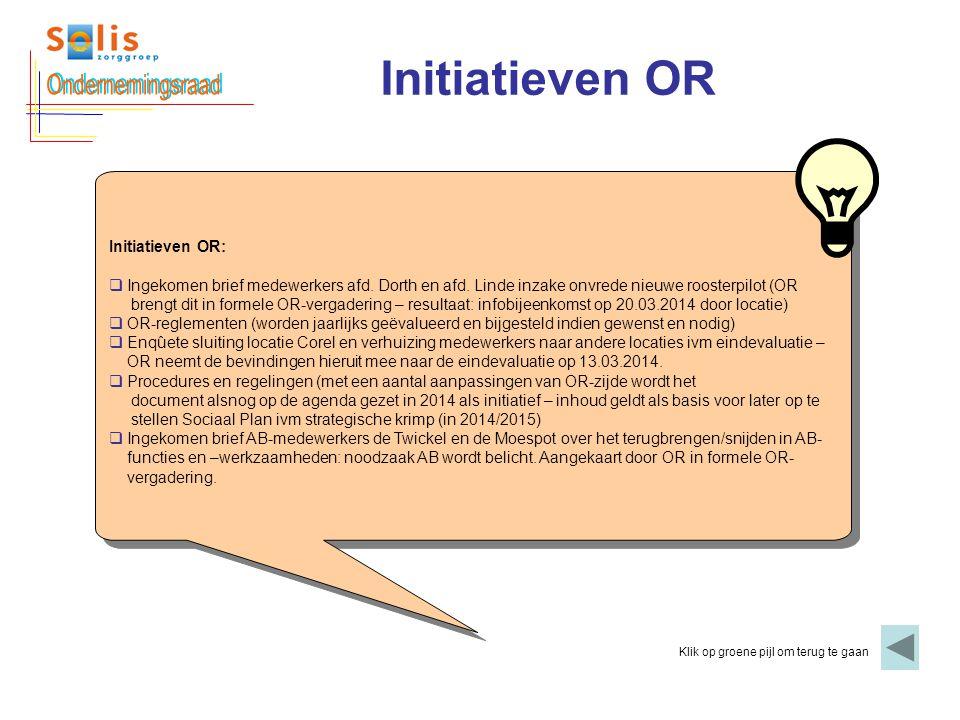 Ondernemingsraad Initiatieven OR Initiatieven OR: