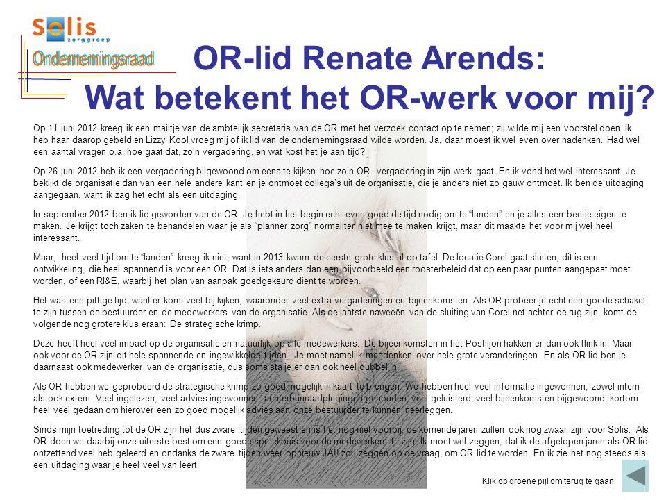OR-lid Renate Arends: Wat betekent het OR-werk voor mij